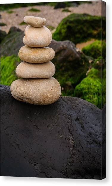 Mystic Setting Canvas Print - Balancing Zen Stones By The Sea V by Marco Oliveira