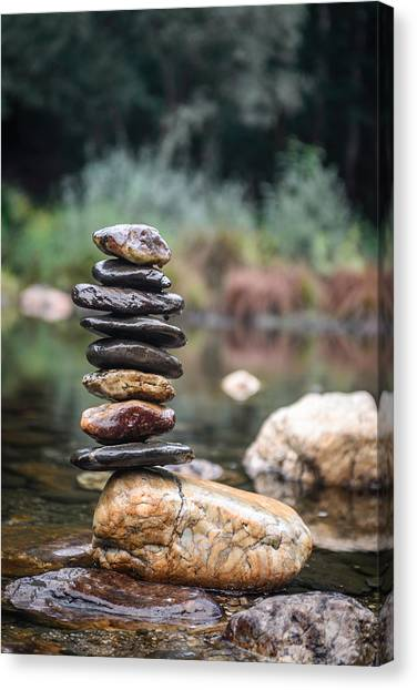 Balancing Zen Stones In Countryside River I Canvas Print