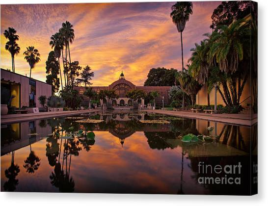 Balboa Park Botanical Building Sunset Canvas Print