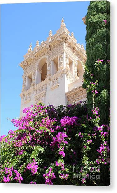 The Prado Canvas Print - Balboa Park Hospitality House With Bougainvillea by Carol Groenen