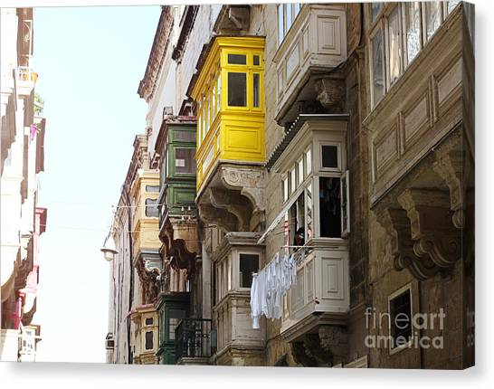 Maltese Canvas Print - Balconies Of Valletta 1 by Jasna Buncic