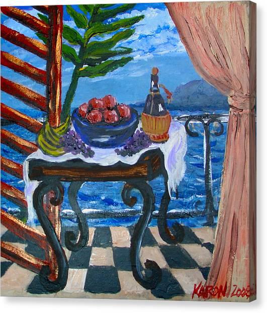 Balcony By The Mediterranean Sea Canvas Print