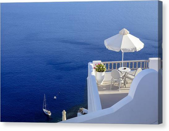 Greece Canvas Print - Balcony Over The Sea by Joana Kruse