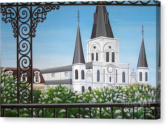 Balcony View Of St Louis Cathedral Canvas Print