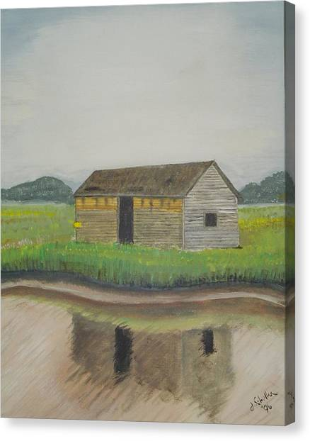 Bald Head Island Shed Canvas Print by John Schuller