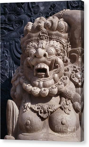Bali Hindu Temple Sculpture Photograph - Bali Guardian I Canvas Print