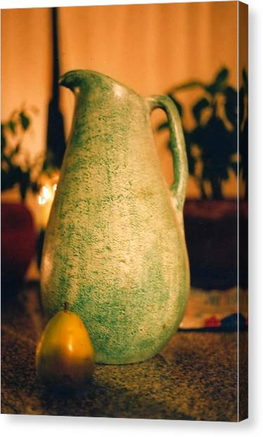 Bali Pitcher And Pear Canvas Print by Heather S Huston