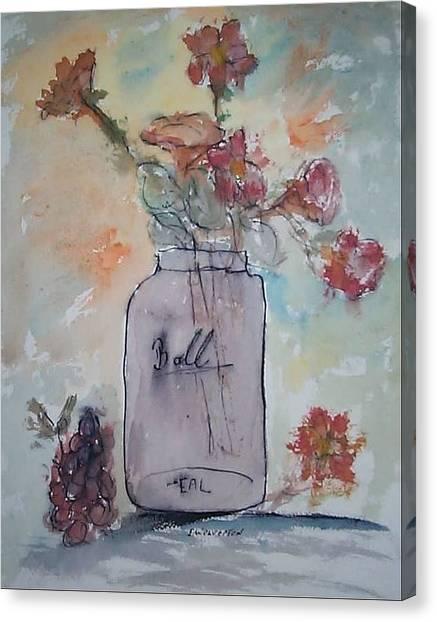 Ball Jar Vase Canvas Print by Edward Wolverton