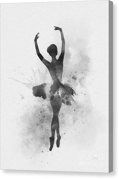 Music Genres Canvas Print - Ballerina 2 Black And White by Rebecca Jenkins