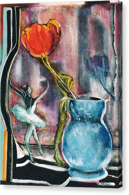 Ballerina And Flower Canvas Print