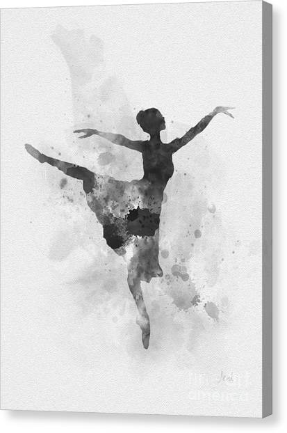 Music Genres Canvas Print - Ballerina Black And White by Rebecca Jenkins