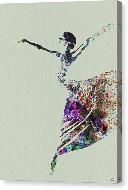 Costume Canvas Print - Ballerina Dancing Watercolor by Naxart Studio