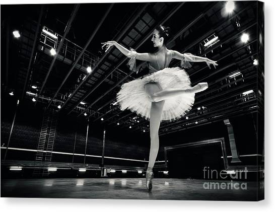 Canvas Print featuring the photograph Ballerina In The White Tutu by Dimitar Hristov