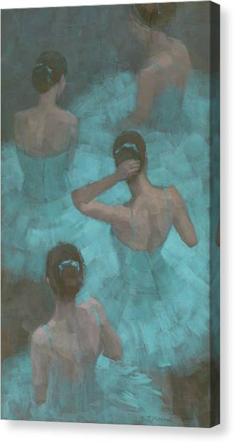 Canvas Print featuring the painting Ballerinas In Blue by Steve Mitchell