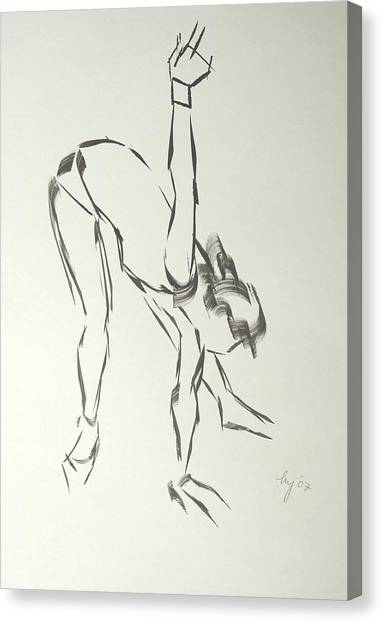 Ballet Dancer Bending And Stretching Canvas Print