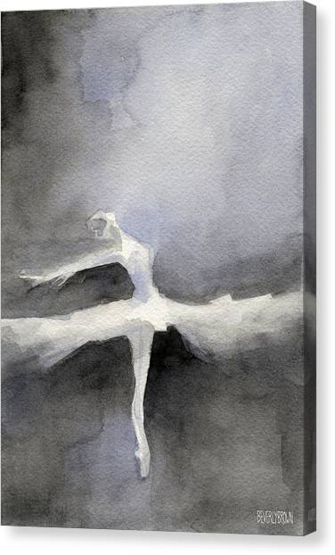 Brown Canvas Print - Ballet Dancer In White Tutu Watercolor Paintings Of Dance by Beverly Brown Prints