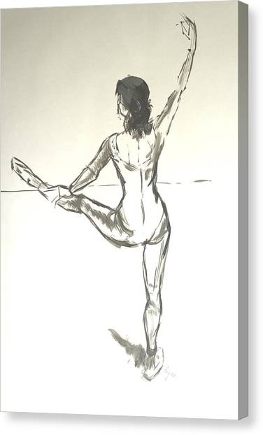 Ballet Dancer With Left Leg On Bar Canvas Print