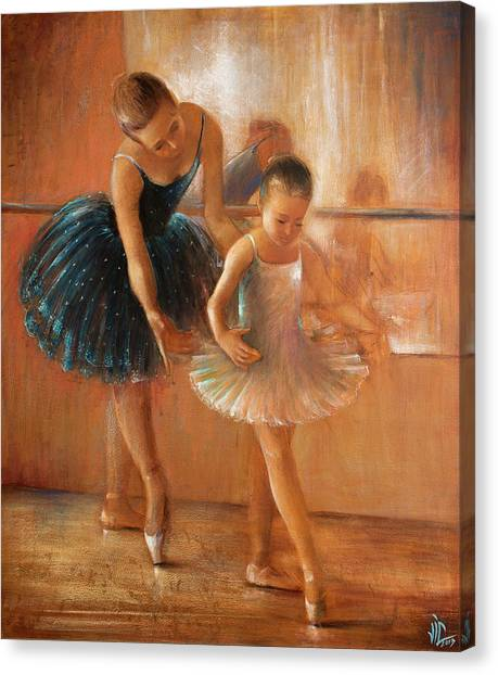 ballet lesson-painting on leather by Vali Irina Ciobanu  Canvas Print
