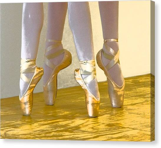 Ballet Second Position In Gold Canvas Print