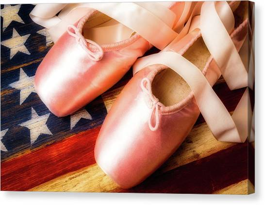 Ballet Shoes Canvas Print - Ballet Shoes And American Flag by Garry Gay