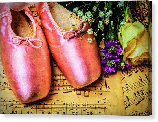 Ballet Shoes Canvas Print - Ballet Shoes And Old Sheet Music by Garry Gay
