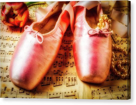 Ballet Shoes Canvas Print - Ballet Shoes And Perals by Garry Gay