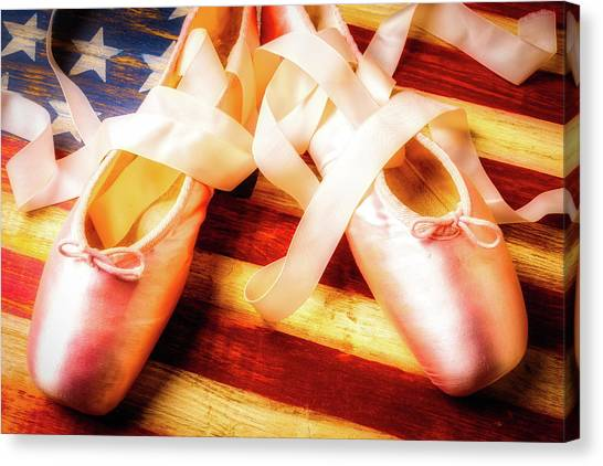 Ballet Shoes Canvas Print - Ballet Shoes On Flag by Garry Gay