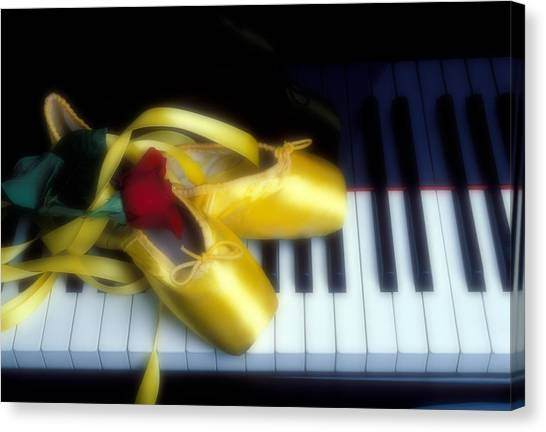 Dance Ballet Roses Canvas Print - Ballet Shoes On Piano Keys by Garry Gay