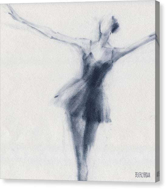 Blue Canvas Print - Ballet Sketch Dying Swan by Beverly Brown Prints