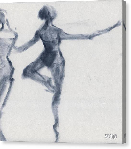 Navy Blue Canvas Print - Ballet Sketch Passe En Pointe by Beverly Brown Prints