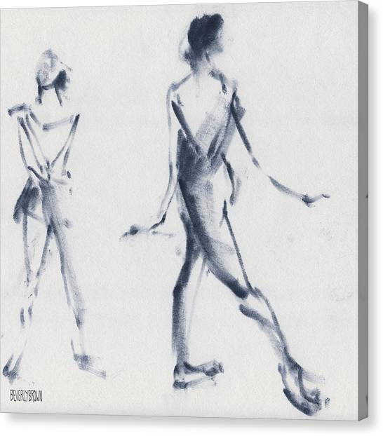 Blue Canvas Print - Ballet Sketch Tendu Back by Beverly Brown Prints