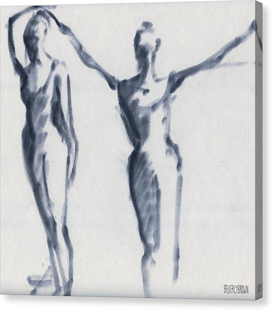 Navy Blue Canvas Print - Ballet Sketch Two Dancers Arms Overhead by Beverly Brown Prints