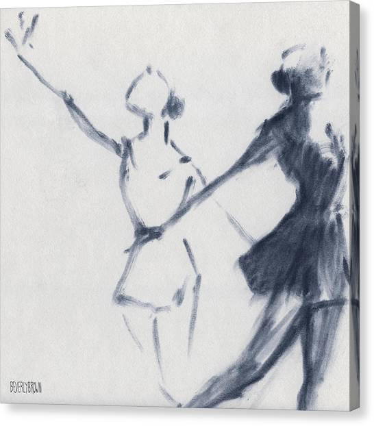 Blue Canvas Print - Ballet Sketch Two Dancers Mirror Image by Beverly Brown Prints