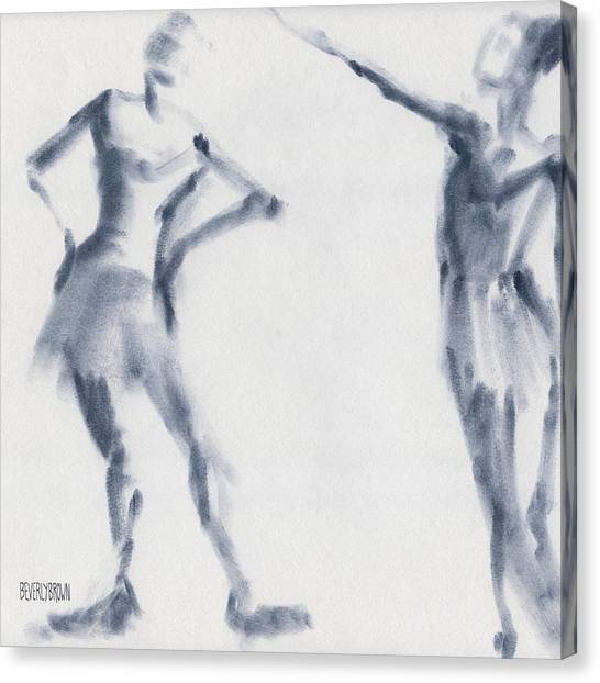 Navy Blue Canvas Print - Ballet Sketch Two Dancers Shift by Beverly Brown Prints