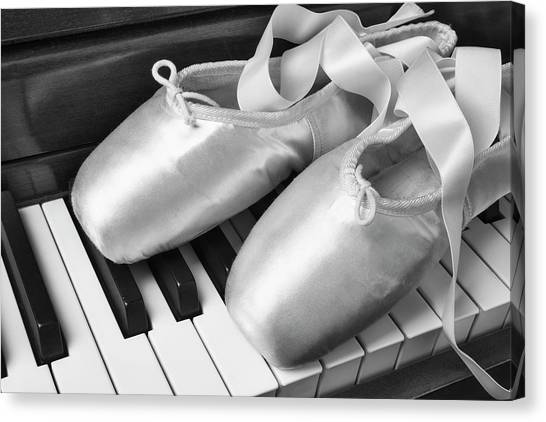 Electronic Instruments Canvas Print - Ballet Slipers In Black And White by Garry Gay