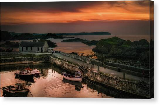 Ballintoy Harbour Sunset Canvas Print