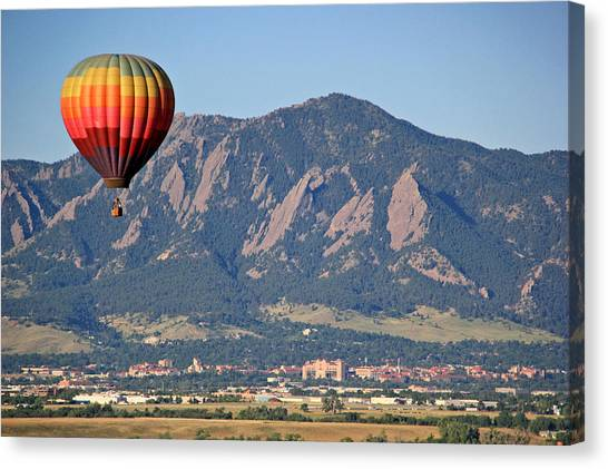University Of Colorado Canvas Print - Balloon Over Flatirons And Cu by Scott Mahon
