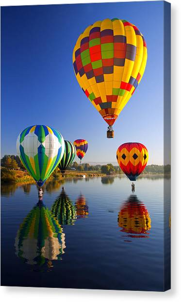 Hot Air Balloons Canvas Print - Balloon Reflections by Mike  Dawson