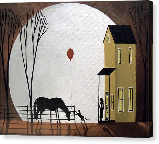 Funny Horses Canvas Print - Balloon Tag - Cat Horse Girl Moon Folk Art by Debbie Criswell