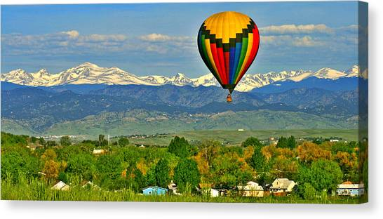 Colorado Rockies Canvas Print - Ballooning Over The Rockies by Scott Mahon