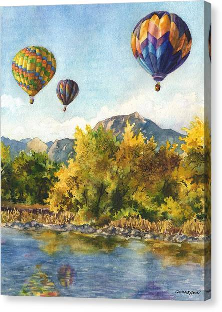 Hot Air Balloon Canvas Print - Balloons At Twin Lakes by Anne Gifford