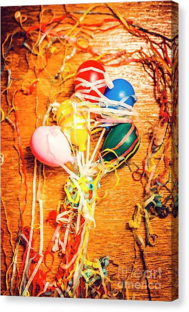 Party Canvas Print - Balloons Entangled With Colorful Streamers by Jorgo Photography - Wall Art Gallery