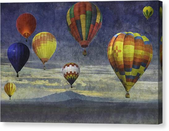 Balloons Over Sister Mountains Canvas Print