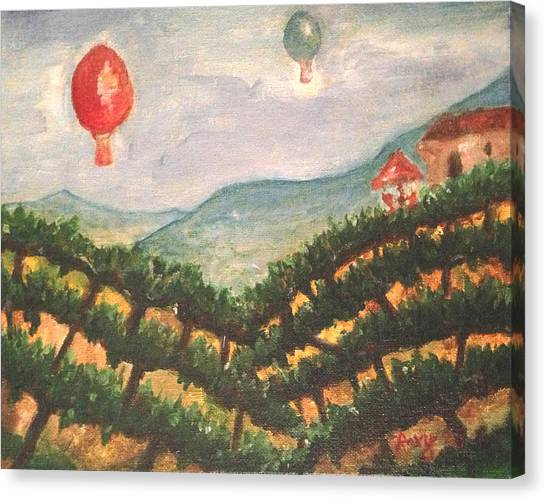 Hot Air Balloons Canvas Print - Balloons Over Wine Country by Roxy Rich
