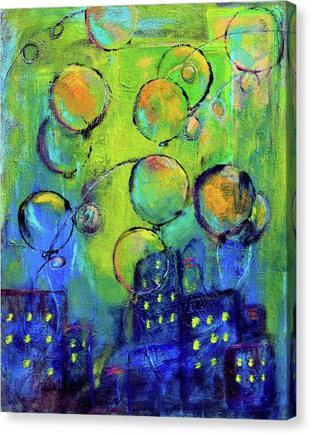 Cheerful Balloons Over City Canvas Print
