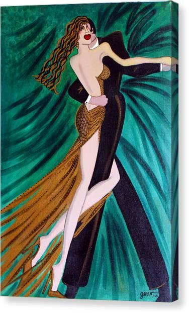 Ballroom Dancers Champagne Tango Canvas Print by Helen Gerro
