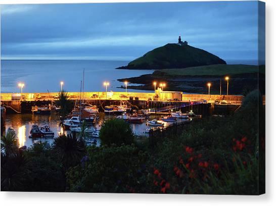 Ballycotton Ireland Marina Harbour And Lighthouse East County Cork Canvas Print