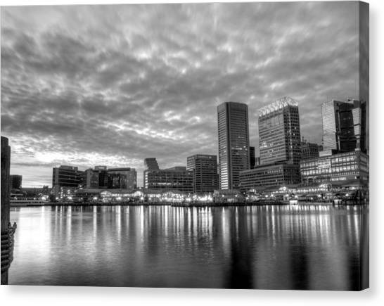 Baltimore In Black And White Canvas Print