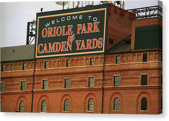 Orioles Canvas Print - Baltimore Orioles Park At Camden Yards by Frank Romeo