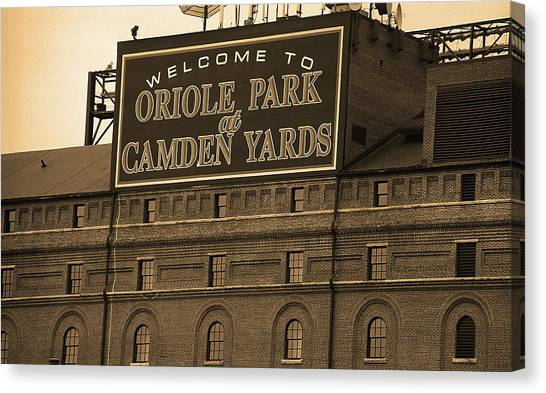Orioles Canvas Print - Baltimore Orioles Park At Camden Yards Sepia by Frank Romeo